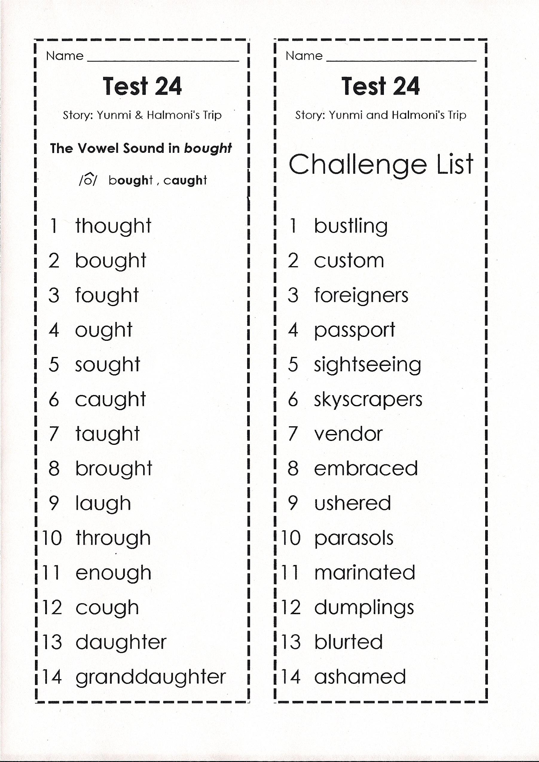 Worksheet Speling Word goodale johnna spelling words test 24