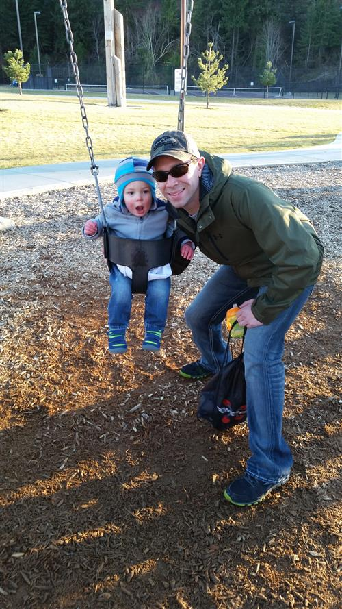 Mr. Bennett and Son swinging
