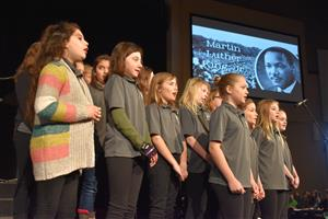 Students sing at Martin Luther King Jr. program
