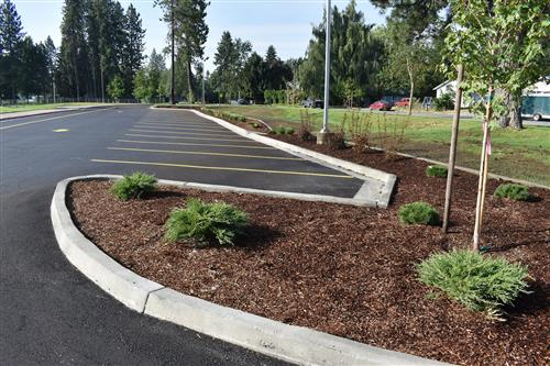 Completed parking lot, bus lop project at Fernan