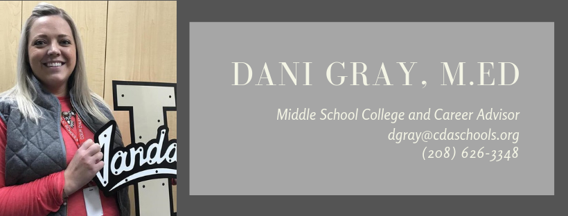 Image of Dani Gray with contact info dgray@cdaschools.org 208.626.3448