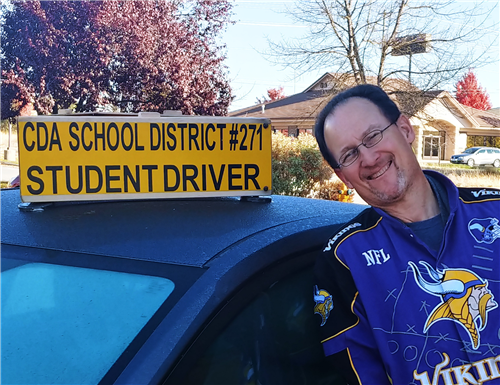 Greg Espe with our diver's education car.