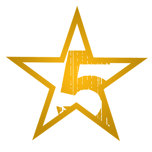 Gold star containing the number five