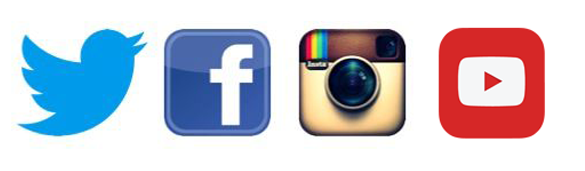 Find and follow us on Facebook, Twitter, Instagram and YouTube. Social media icons pictured.